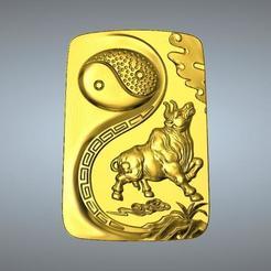 Plan imprimante 3D Pendentif I Ching Tai Chi Zodiaque 2 OX, 3D_Dragon