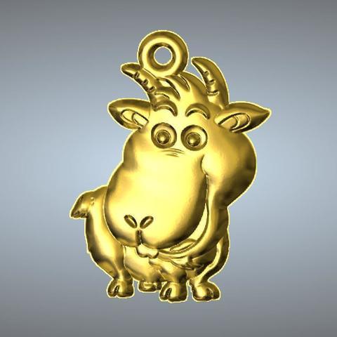 3D printer models Q2 type 08-Goat pendant, 3D_Dragon