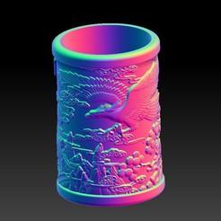 Télécharger fichier STL Porte-stylo classique de sculpture ronde Eagle • Modèle imprimable en 3D, 3D_Dragon