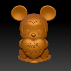 Mickey With Love 21.jpg Download STL file Mickey With Love Valentine's Day Pendants & Decorations • 3D print model, 3D_Dragon