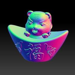 Download 3D printer designs Zodiac Gold Ingot Edition   3 Tiger, 3D_Dragon