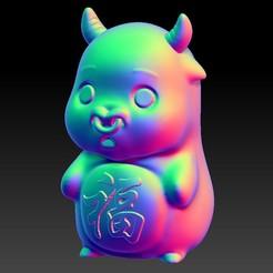 A22.jpg Download STL file Q5 Jade carving  Zodiac Pendant & Ornament  2 OX • Object to 3D print, 3D_Dragon