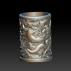 Download 3D printer templates Chinese style - dragon pen holder 2, 3D_Dragon