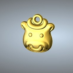 Free 3D print files Q1 type 02-Cow pendant , 3D_Dragon