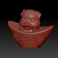 Download 3D printer files Zodiac Gold Ingot Edition   12 Pig, 3D_Dragon