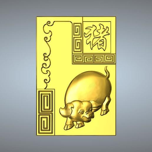 Download 3D print files 12-Textured Chinese zodiac pig, 3D_Dragon