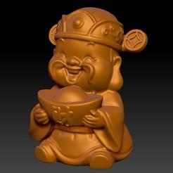开心小财神 4.jpg Download STL file Happy Chinese New Year god of wealth congratulations fortune • Model to 3D print, 3D_Dragon