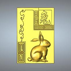 Download STL file 04-Textured  Chinese zodiac Hare, 3D_Dragon