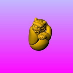A3.jpg Download STL file 12 zodiac  olive FIG carving Tiger • 3D print object, 3D_Dragon