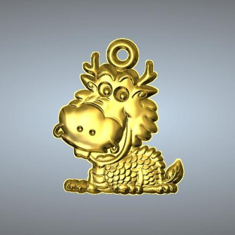 3D printer files Q2 type 05-dragon pendant, 3D_Dragon