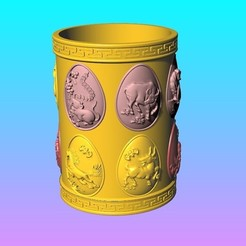 Download 3D printing designs Arc face Chinese zodiac pen holder, 3D_Dragon