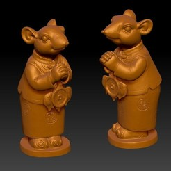 招财鼠拜年恭喜发财摆件 6-4.jpg Télécharger fichier STL Lucky Rat Nouvel an chinois Félicitations à Fortune Decoration • Design à imprimer en 3D, 3D_Dragon