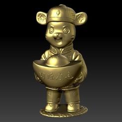 金钱鼠拜年-财源广进 3.jpg Download STL file Money Rat Chinese Year - a lot of financial resources • 3D printing object, 3D_Dragon