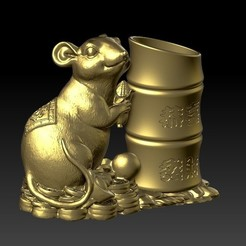 Download STL file China Year of the Rat Fortune Pen holder 2, 3D_Dragon