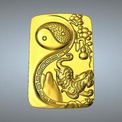 Télécharger STL Pendentif I Ching Tai Chi Zodiaque Pendentif 3 Tigre, 3D_Dragon