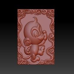 Download STL files QB type Zodiac pendant 9 Monkey, 3D_Dragon