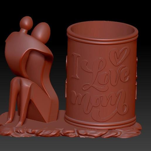 Download STL file I LOVE MOM PEN HOLDER 4 • 3D printer model, 3D_Dragon