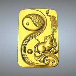 Télécharger modèle 3D Pendentif I Ching Tai Chi Zodiaque 1 Rat, 3D_Dragon