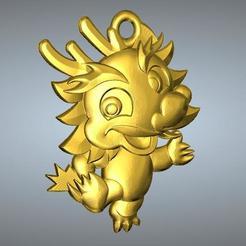 Télécharger fichier STL QD pendentif zodiaque type Zodiac 5 dragon, 3D_Dragon