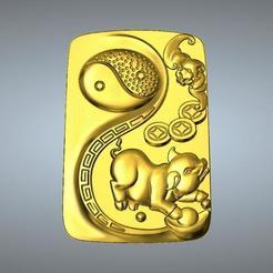 3D printing model I Ching Tai Chi  Zodiac pendant 12 Pig, 3D_Dragon