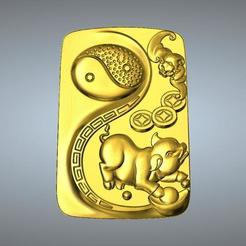 Objet 3D Pendentif I Ching Tai Chi Zodiaque Pendentif 12 Cochon, 3D_Dragon