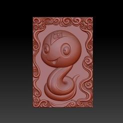 Download 3D printer templates QB type Zodiac pendant 6 Snake, 3D_Dragon