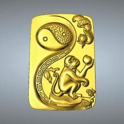 Descargar modelos 3D para imprimir Colgante del zodíaco I Ching Tai Chi 9 Mono, 3D_Dragon