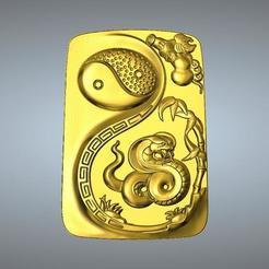 Descargar archivos STL Colgante I Ching Tai Chi Zodíaco 6 Serpiente, 3D_Dragon