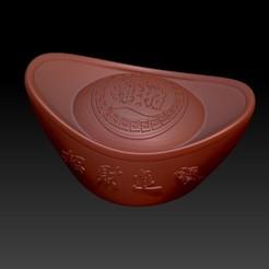 Download 3D printing designs China year Big Gold ingot, 3D_Dragon