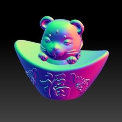 Download STL files Zodiac Gold Ingot Edition   1 Rat, 3D_Dragon
