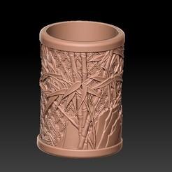 Télécharger fichier STL Porte-stylo rond classique en bambou sculpté • Objet à imprimer en 3D, 3D_Dragon
