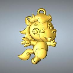 Descargar diseños 3D QD tipo Zodiac colgante 7 Caballo, 3D_Dragon