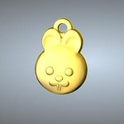 Free STL files Q1 type 04-Rabbit pendant , 3D_Dragon