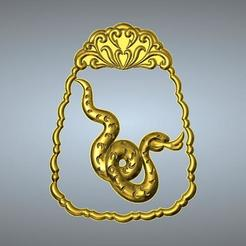 Télécharger STL Pendentif zodiaque en jade sculpté en ligne 6 Serpent, 3D_Dragon