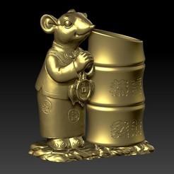 招财鼠拜年恭喜发财 5-4.jpg Télécharger fichier STL Lucky Rat Joyeux Nouvel An Chinois Porte Stylo Festif 5 • Modèle à imprimer en 3D, 3D_Dragon