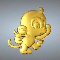 Free 3D printer files QA TYPE ZODIAC PENDANT 9 MONKEY, 3D_Dragon
