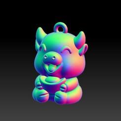 元宝金牛贺新年吊墜1-3.jpg Download STL file Ingot OX New Year Pendant • 3D printer model, 3D_Dragon