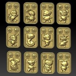 2020-09-11_233025.jpg Download STL file Q5 type Zodiac pendant 1-12 • 3D printable template, 3D_Dragon