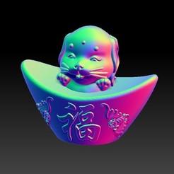 Download 3D printer templates Zodiac Gold Ingot Edition   11 Dog, 3D_Dragon