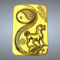 Plan imprimante 3D Pendentif I Ching Tai Chi Zodiaque 11 Chien, 3D_Dragon