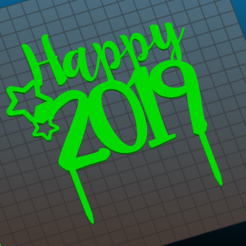 Download 3D printing templates Topper Happy 2019 Christmas, RandomLab