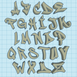 Download STL graffiti alphabet, ludovic67