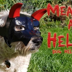 "Download free 3D printer designs ""Mean As Hell"" Dog Helmet, ProteanMan"