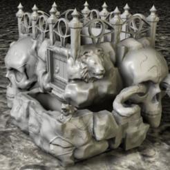 Download 3D printer templates Skull planter, pumpkinhead3d