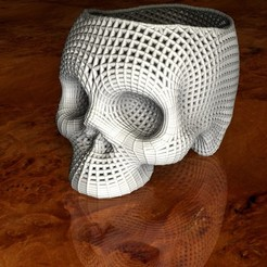 Skull-A.jpg Download STL file Skill pencil pot • Design to 3D print, pumpkinhead3d