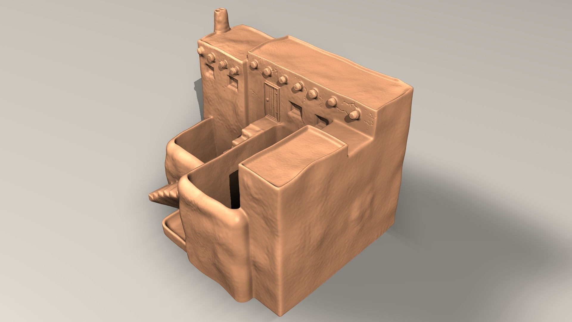 pueblo-C.jpg Download STL file Pueblo desk pot • 3D printer model, pumpkinhead3d