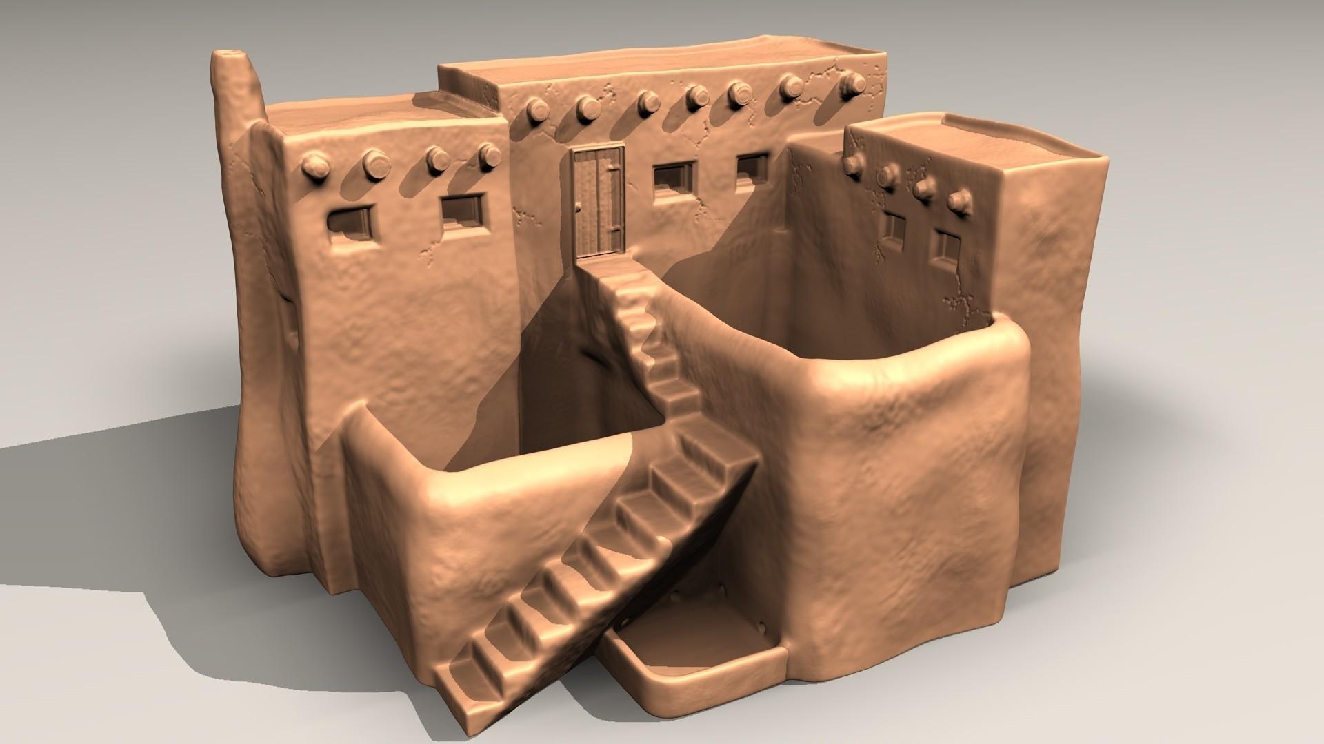 pueblo-A.jpg Download STL file Pueblo desk pot • 3D printer model, pumpkinhead3d