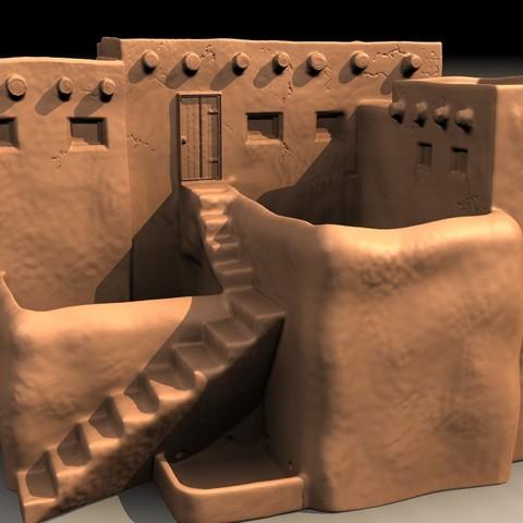 pueblo-D.jpg Download STL file Pueblo desk pot • 3D printer model, pumpkinhead3d