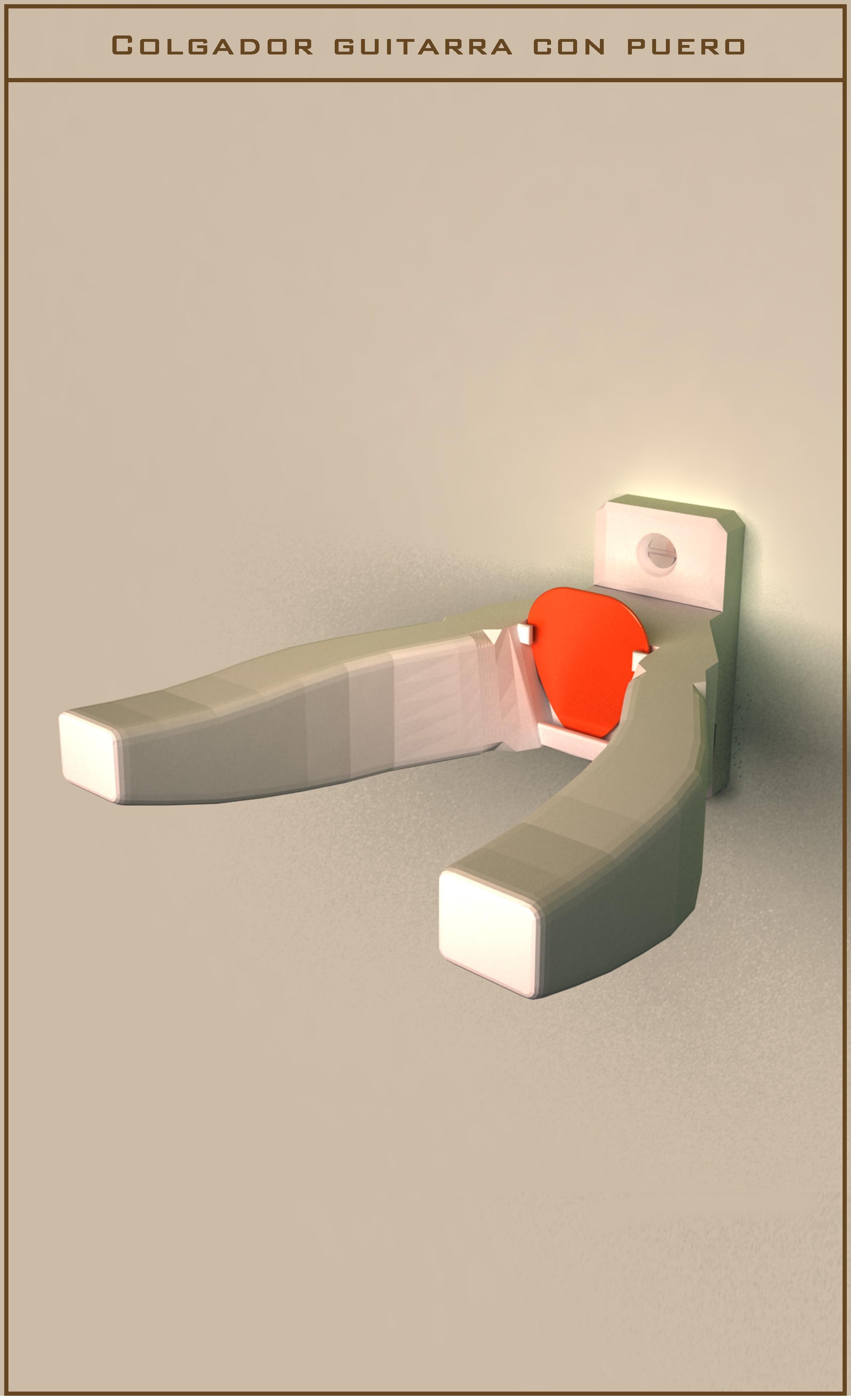 Colgador_02.jpg Download free STL file Guitar hanger with puero • Model to 3D print, danielhuertasperez