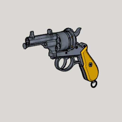 Lefaucheux M1858 3rd Type 12mm 6Shoot Hexagon Short Barrel (3D Print Kit Toy Gun).png Download free STL file Lefaucheux M1858 3rd Type 12mm 6Shoot Hexagon Short Barrel (3D Print Kit Toy Gun) • 3D printing object, Imura_Industries